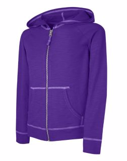 99bdcc1216b Hanes K208 - Girls Slub Jersey Full-Zip Hoodie