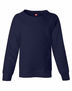 Hanes K243 - Girls'Raglan V-Notch Crewneck Sweatshirt