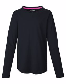 Hanes K249 - Girls'V-Notch Shirttail Long-Sleeve Crewneck ...