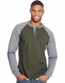 Hanes O5811 - Men's Beefy-T Long-Sleeve Colorblock Henley