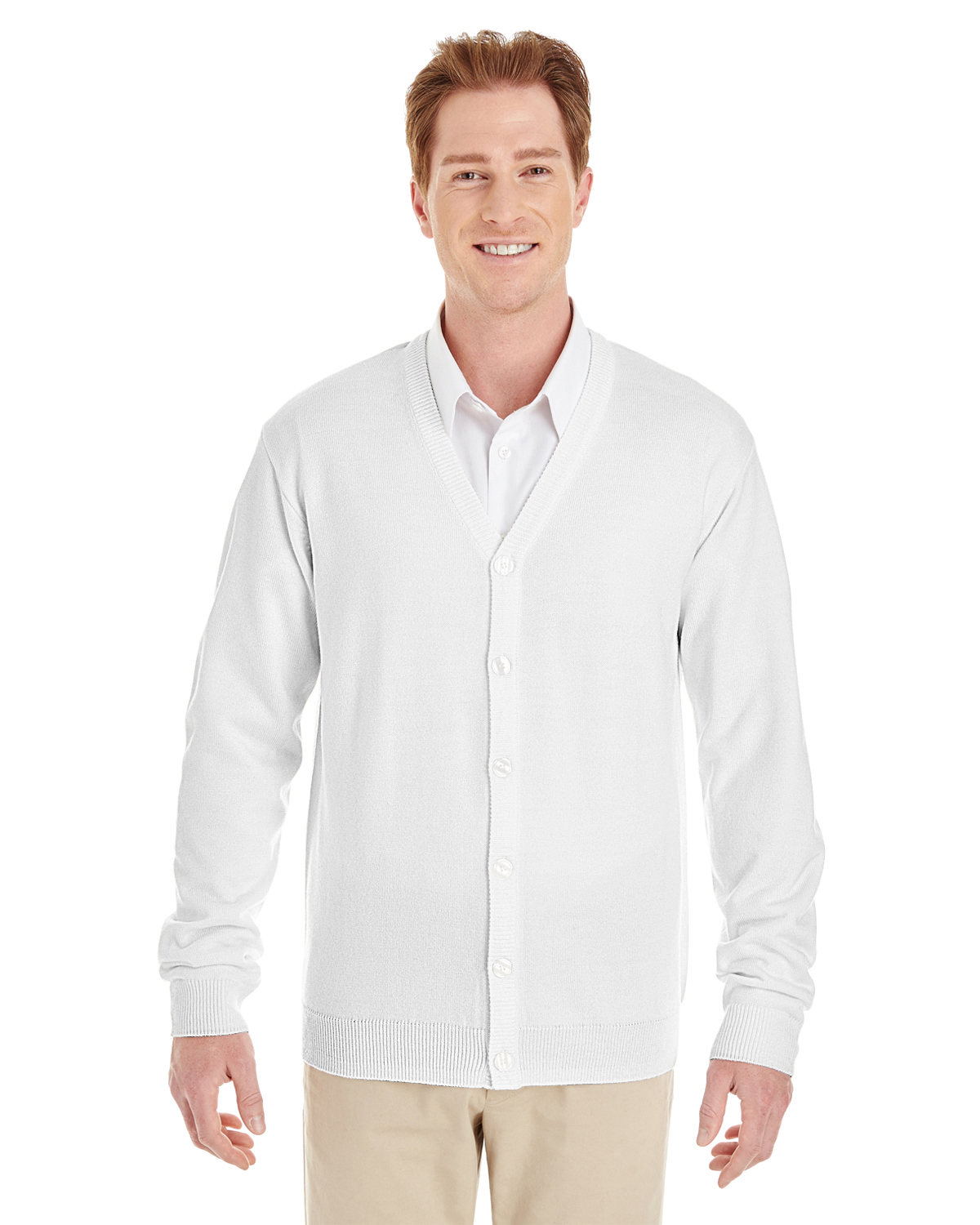 Harriton M425 - Men's Pilbloc™ V-Neck Button Cardigan ...