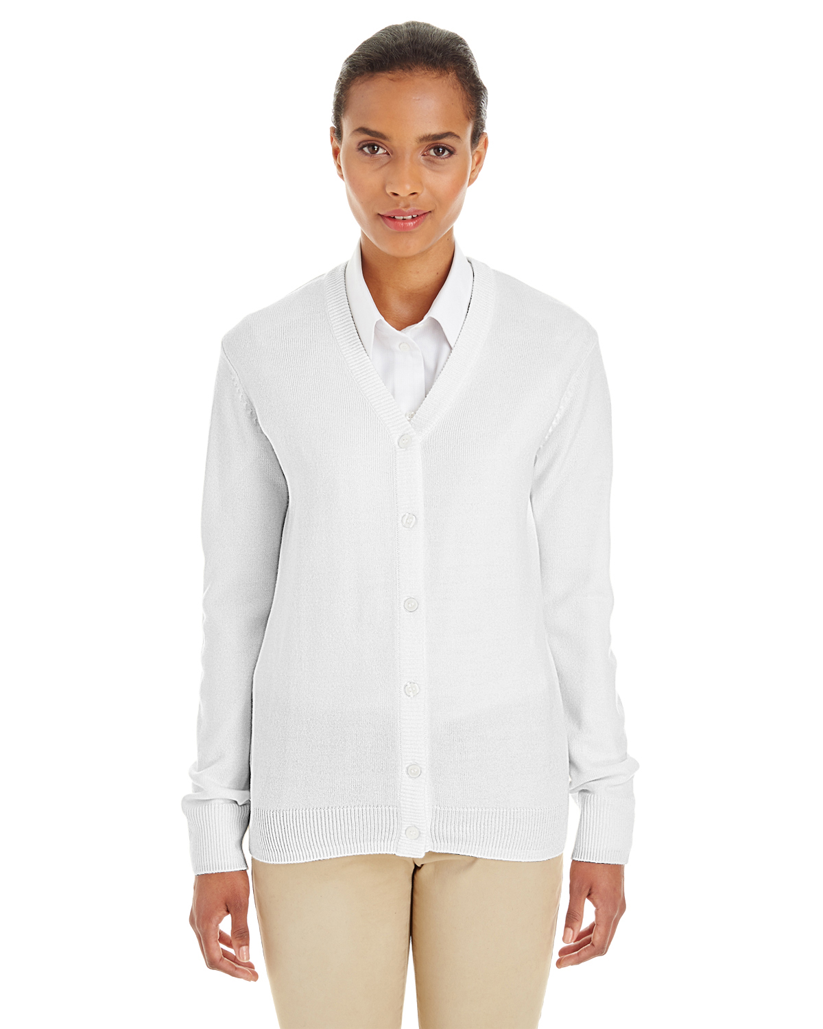 Harriton M425W - Ladies' Pilbloc™ V-Neck Button ...