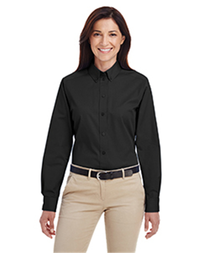 Harriton M581 - Ladies' Foundation 100% Cotton Long-Sleeve Twill Shirt with Teflon