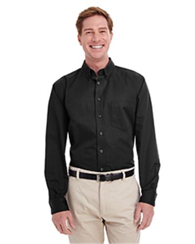 Harriton M581T - Men's Foundation 100% Cotton Long-Sleeve Twill Shirt with Teflon