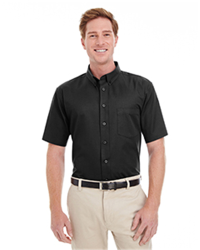 Harriton M582 - Men's Cotton Short-Sleeve Twill Shirt Teflon