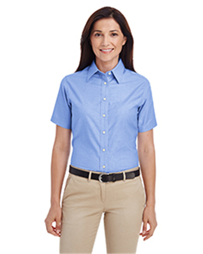 Harriton M600SW - Ladies' Short-Sleeve Oxford with Stain-...