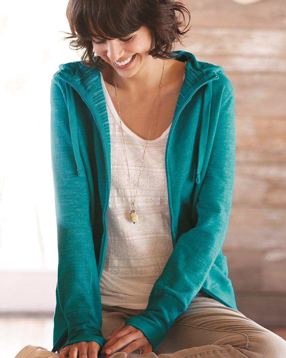 Independent Trading Co. PRM655BZ 女士条纹薄款连帽拉链外套