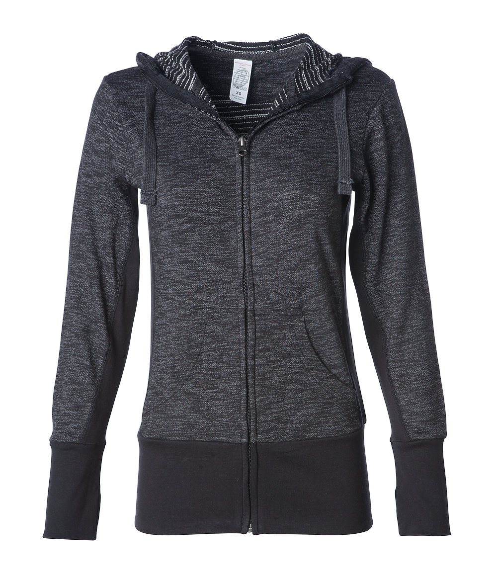 Independent Trading Co. PRM655BZ - Women's Baja Stripe French Terry Zip Hood