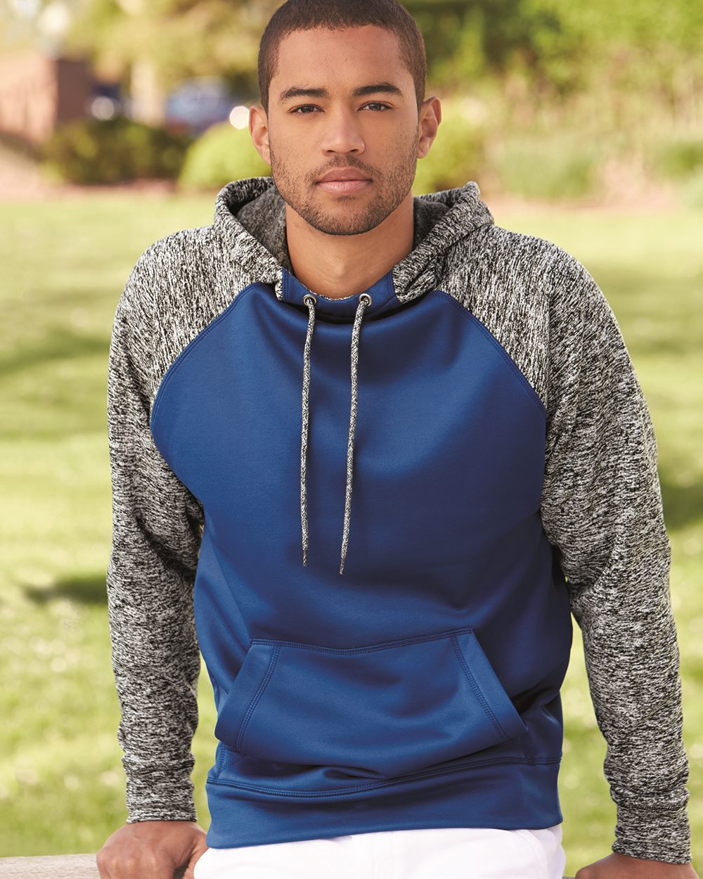 J. America 8612 - Colorblock Cosmic Fleece Hooded Pullover ...
