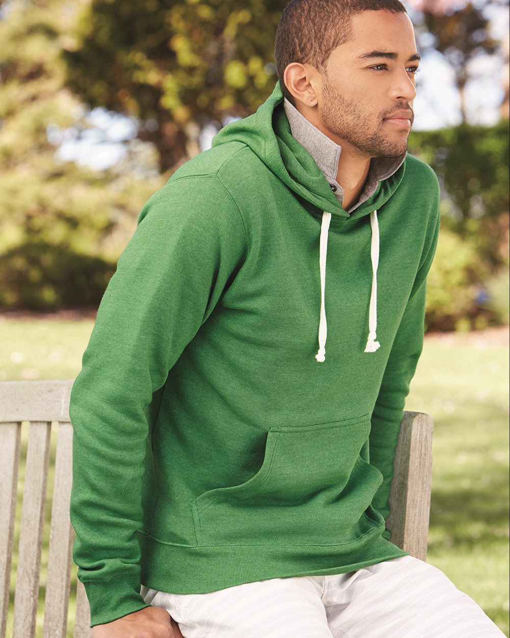 J. America 8871 - Triblend Hooded Pullover Sweatshirt
