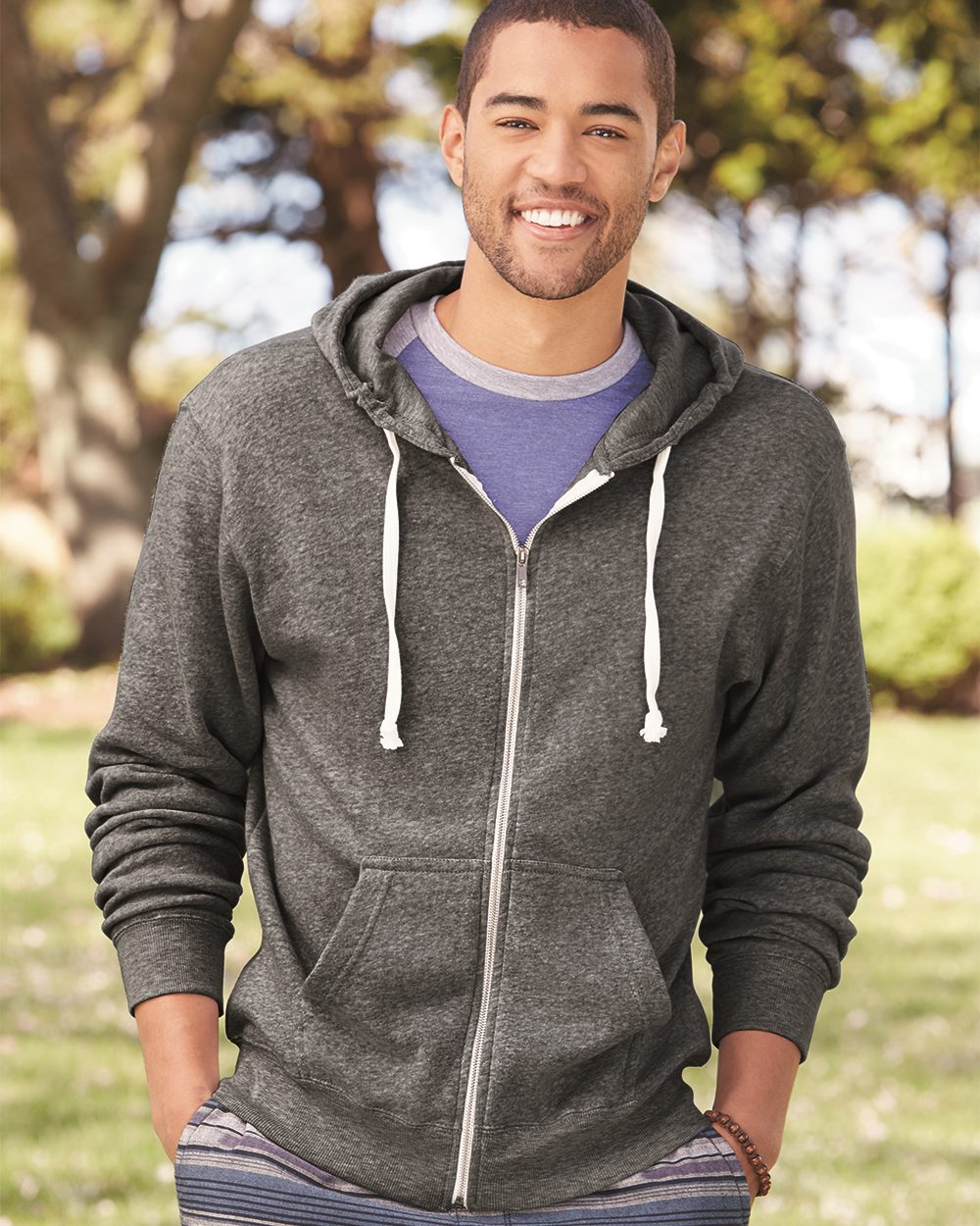 J. America 8872 - Triblend Hooded Full-Zip Sweatshirt