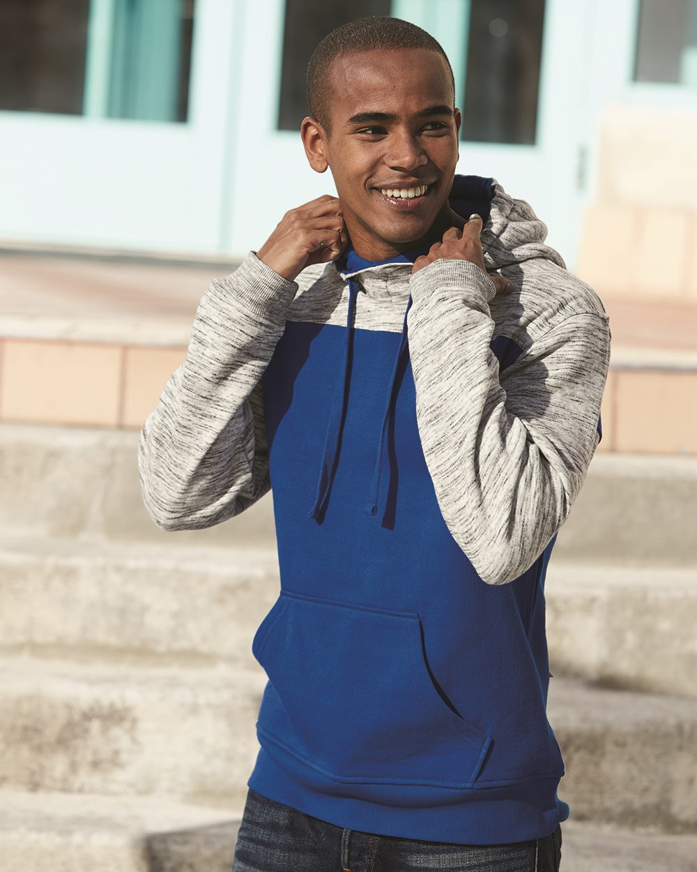 J. America 8676 - Melange Fleece Colorblocked Hooded Pullover