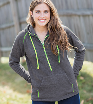 J AMERICA J8876 - LADIES' HALF ZIP TRI BLEND HOOD
