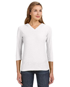 J America JA8153 - Ladies' 3/4-Sleeve Hooded Slub T-...