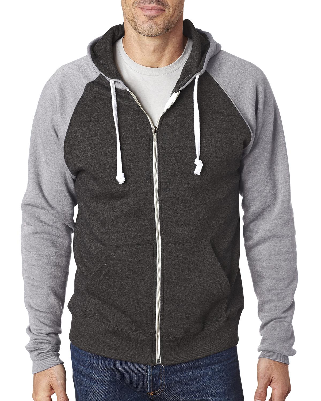 J.America JA8874 - Adult Tri-Blend Color Block Full-Zip Hooded Fleece