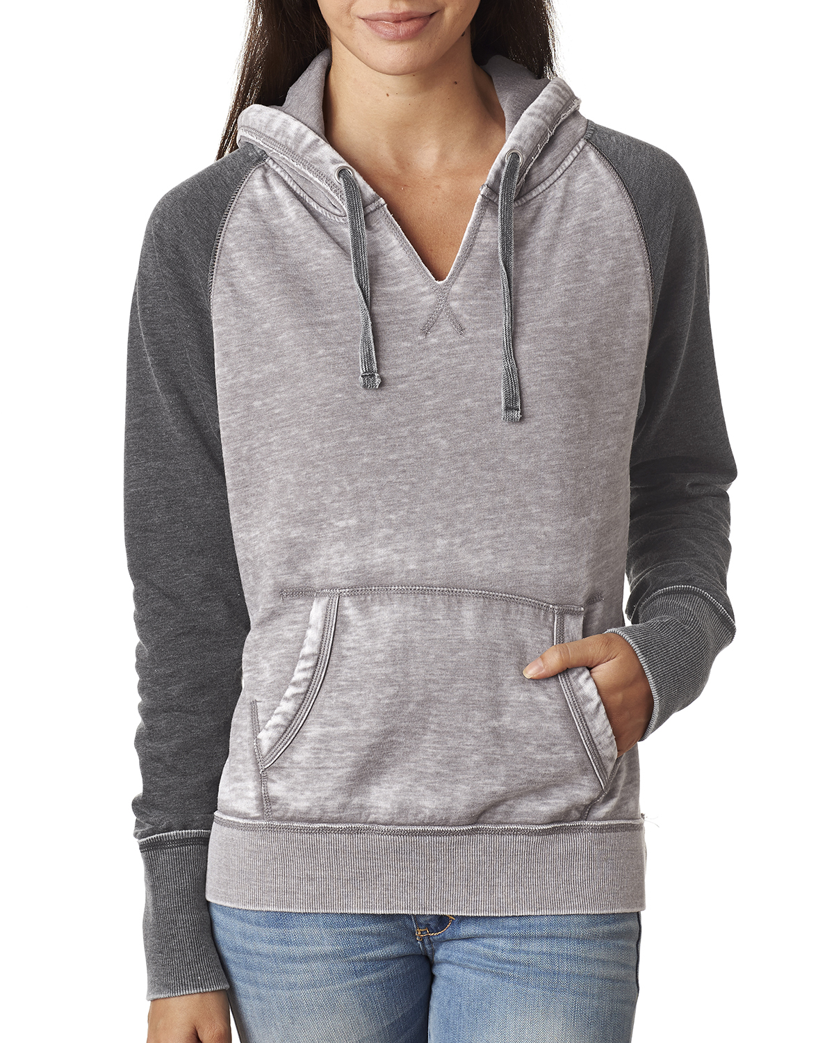 J.America JA8926 - Ladies' Zen Contrast Hooded Fleece