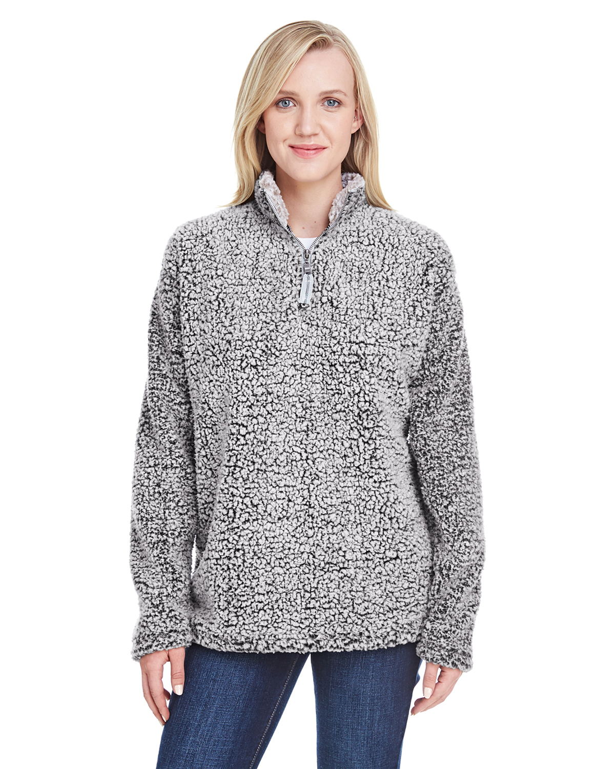 J. America 8451 - Ladies Epic Sherpa Quarter-Zip