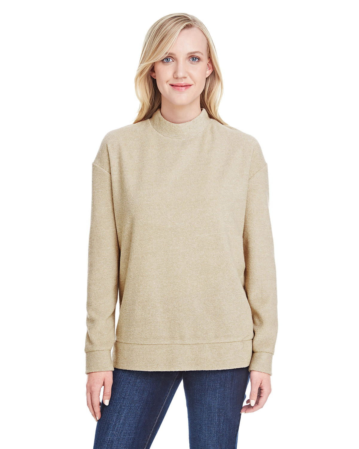 J. America 8428 - Ladies Weekend French Terry Mock Neck Crew