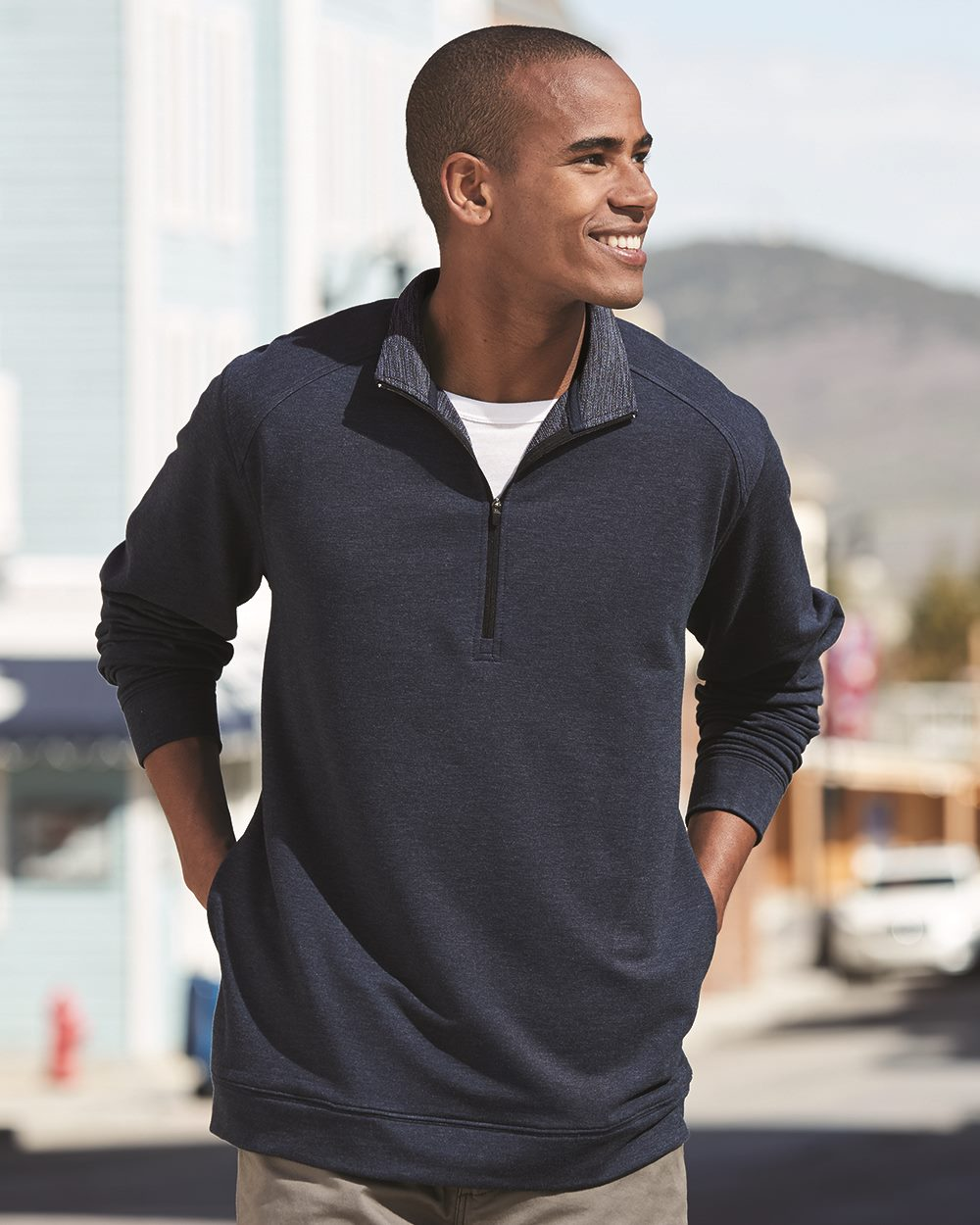 J. America 8434 - Omega Stretch Terry Quarter-Zip Pullover