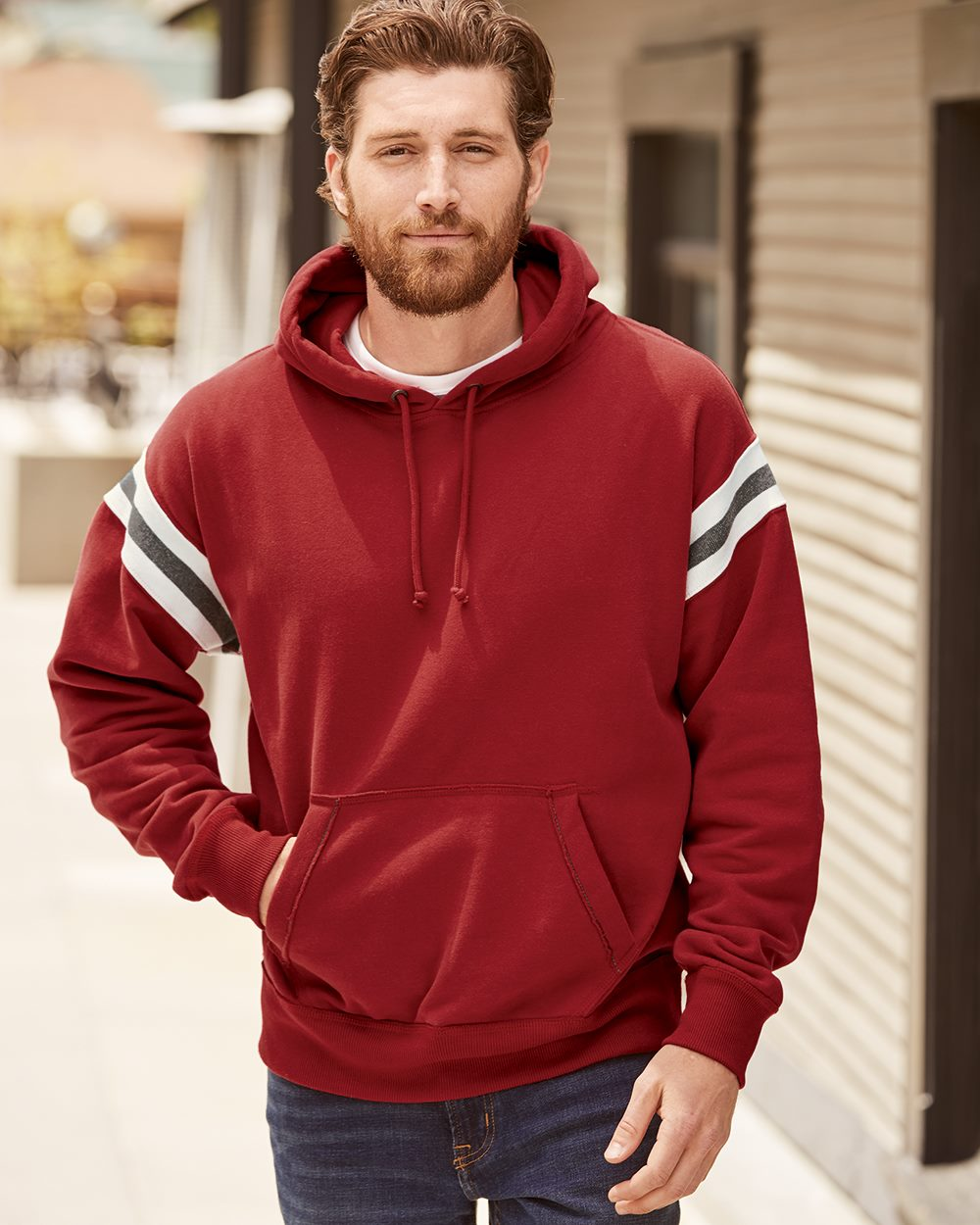 J. America 8847 - Vintage Athletic Hooded Sweatshirt