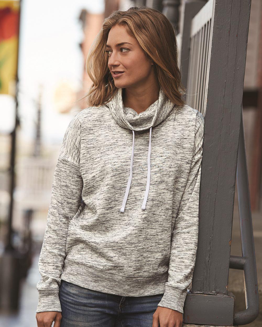 J. America 8673 - Women's Melange Fleece Cowlneck Pullover