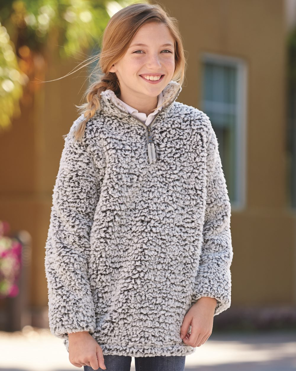 J. America 8462 - Epic Sherpa Youth Quarter-Zip Pullover