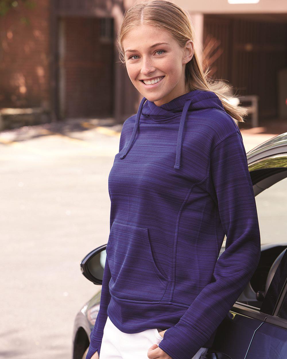 J.America 8662 - Women's Odyssey Striped Performance Fleece Hooded Pullover Sweatshirt