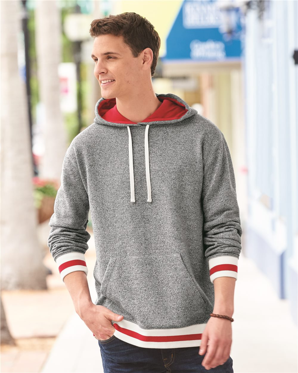 J.America 8701 - Peppered Fleece Lapover Hooded Pullover