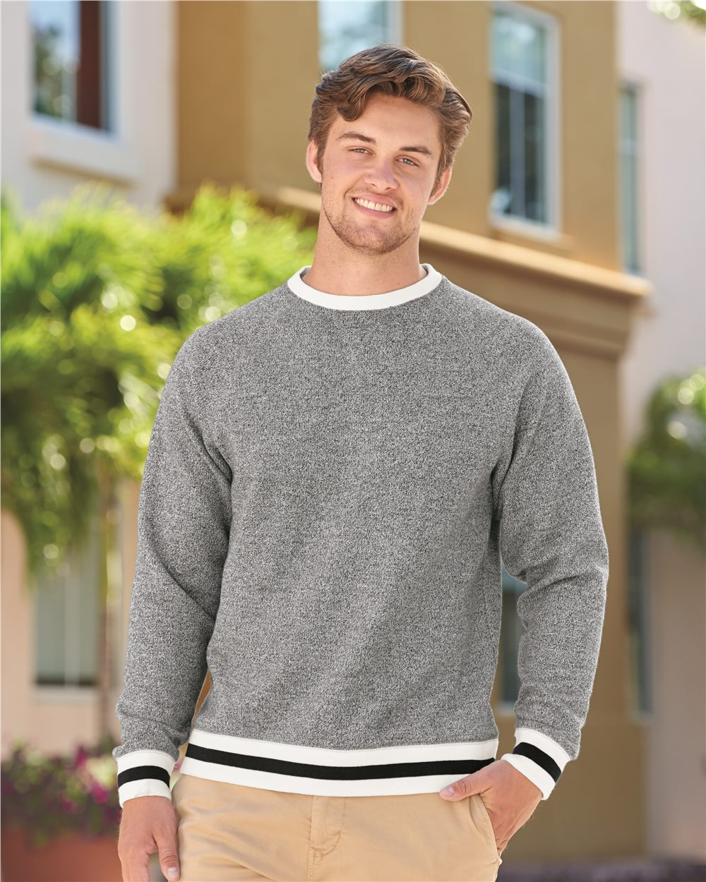 J. America 8702 - Peppered Fleece Crewneck Sweatshirt
