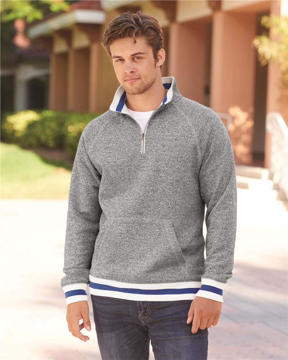 J. America 8703 - Peppered Fleece 1/4 Zip Pullover