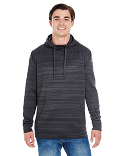 J.America JA8661 - Adult Adult Striped Poly Fleece Pullover Hood