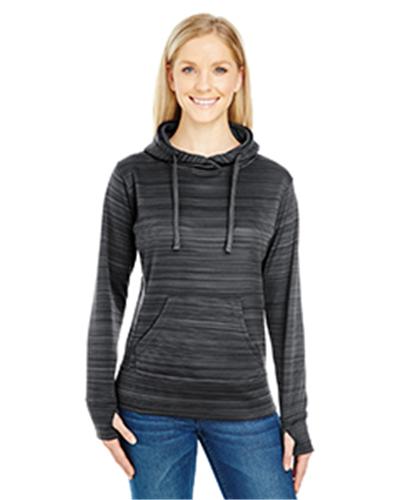J.America JA8662 - Ladies' Ladie's Striped Poly Fleece Lapover Hood