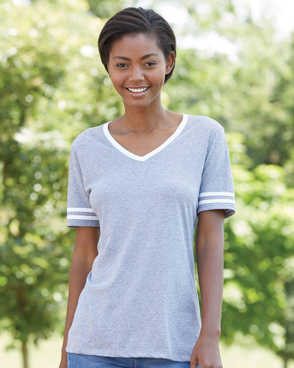 Jerzees 602WVR - Triblend Women's V-Neck Varsity T-Shirt