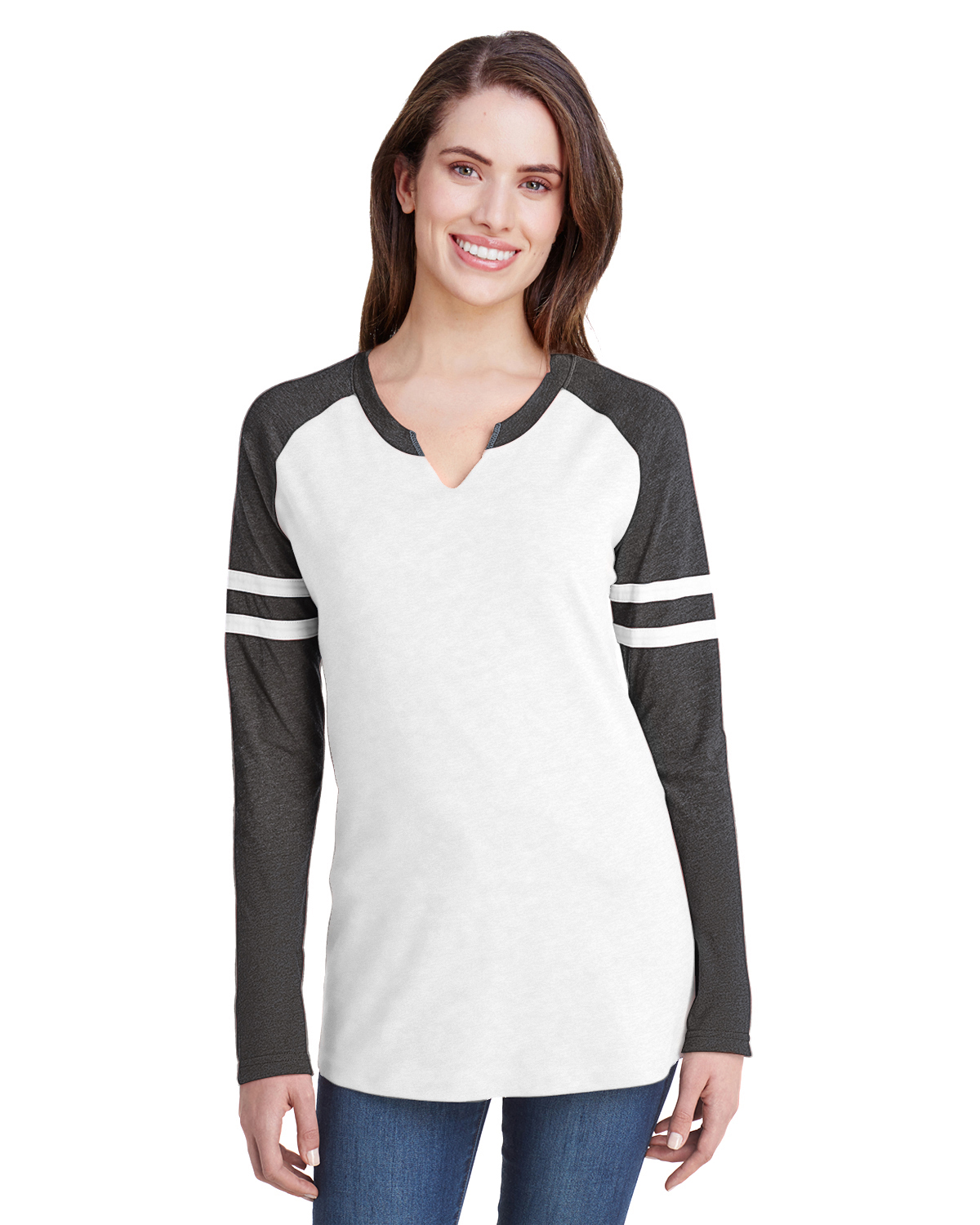LAT 3534 - Women's Fine Jersey Mash Up Long Sleeve T-Shirt