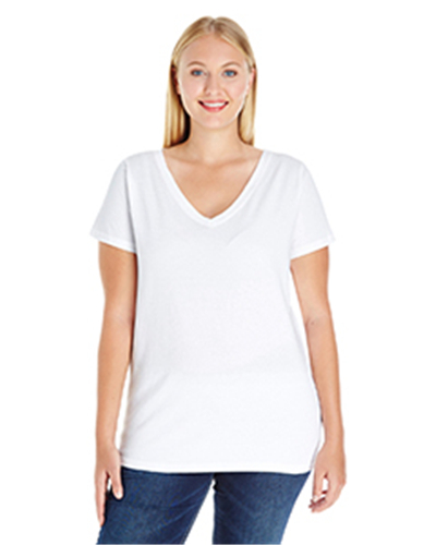 L.A.T 3807 - Ladies' Curvy V-Neck Premium Jersey T-Shirt