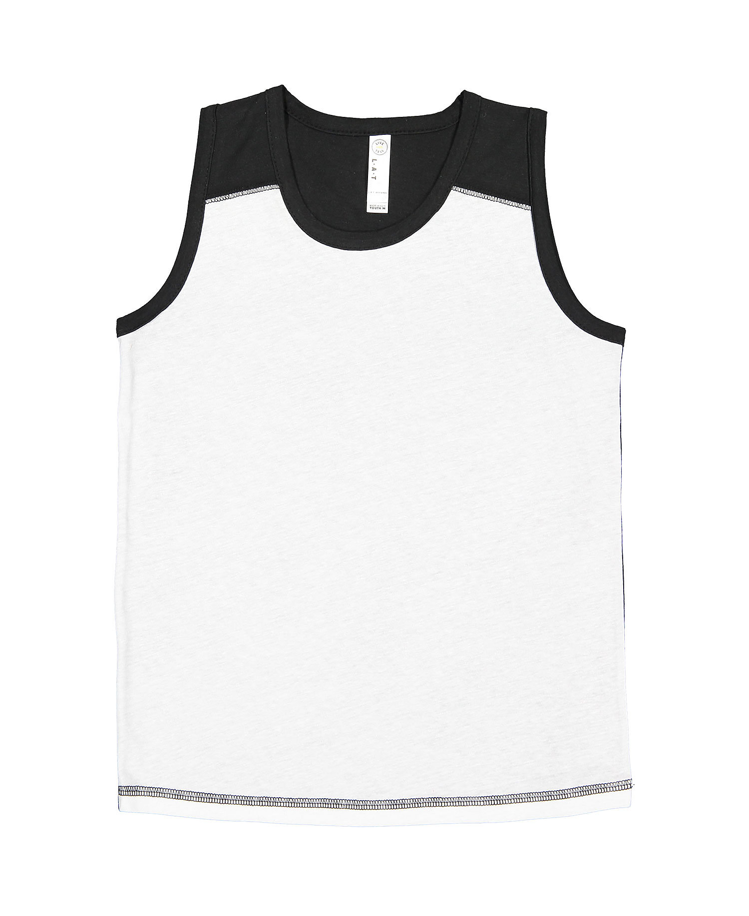 LAT 6119 - Youth Contrast Back Fine Jersey Tank
