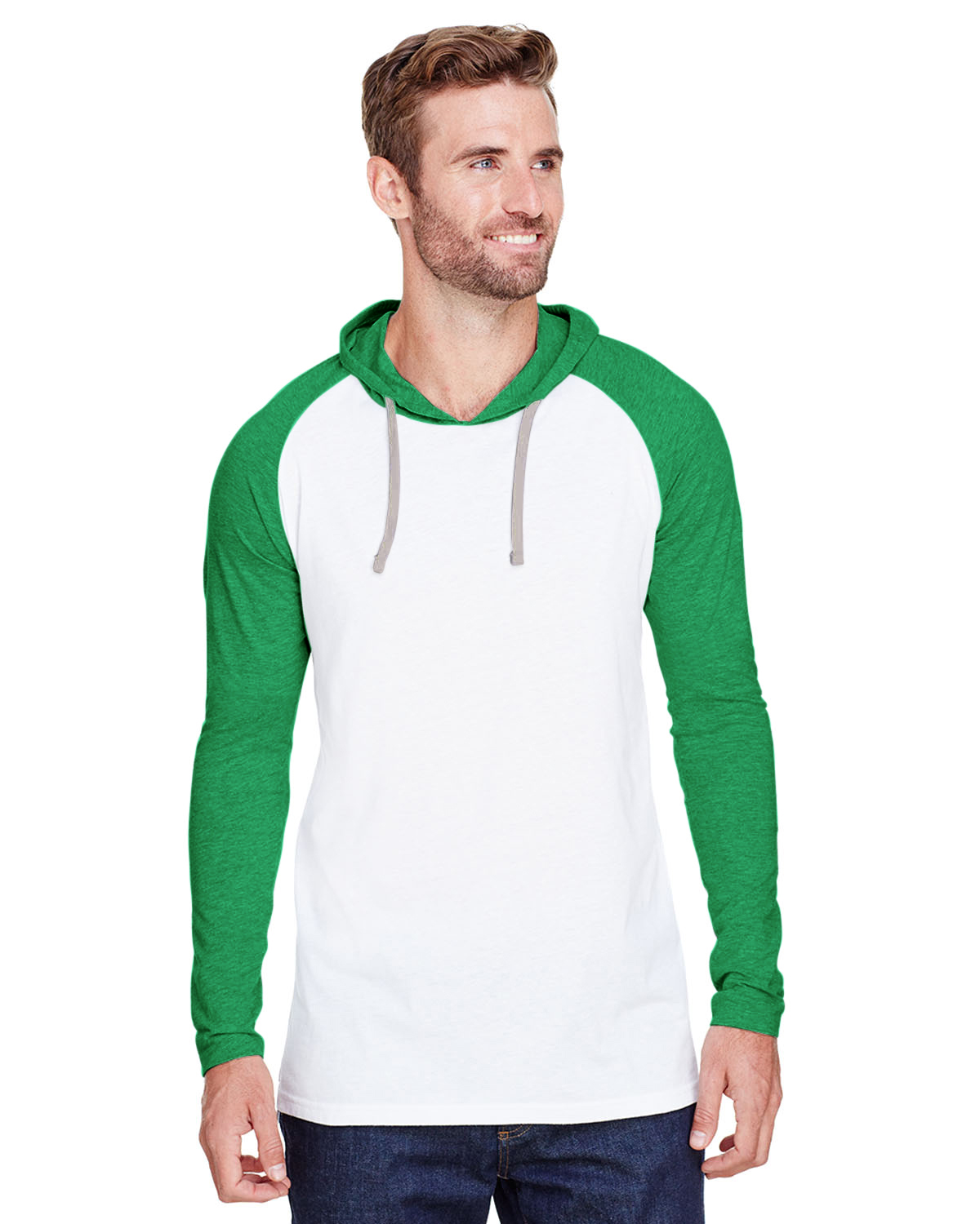 LAT 6917 - Fine Jersey Long Sleeve Hooded Raglan T-Shirt
