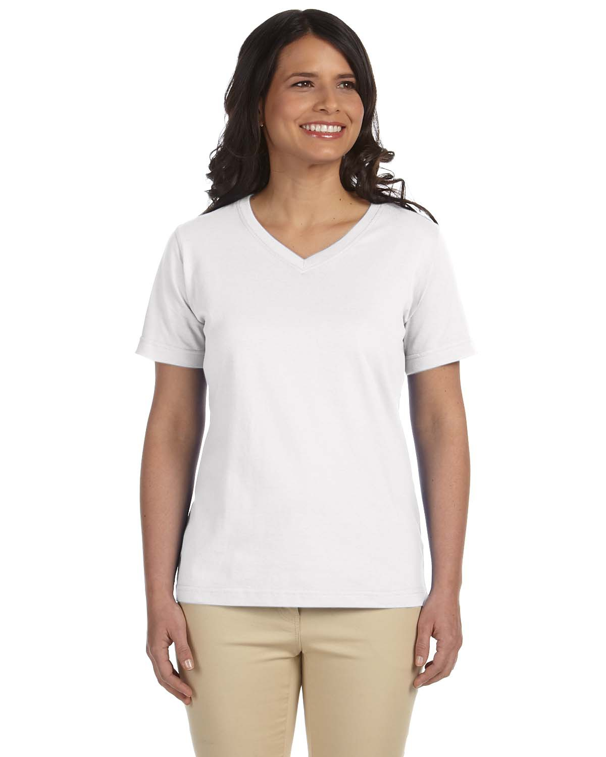 L.A.T Ladies' L-3587 - Combed Ringspun Jersey V-Neck ...
