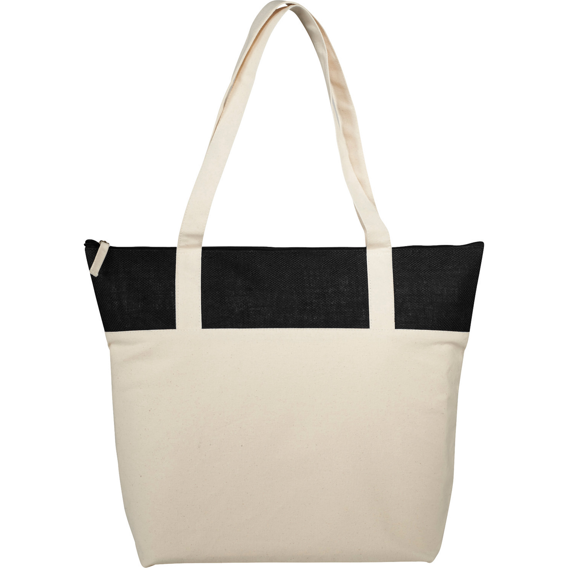 LEEDS 7900-72 - 12 oz. Cotton Canvas and Jute Accent Zippered Tote