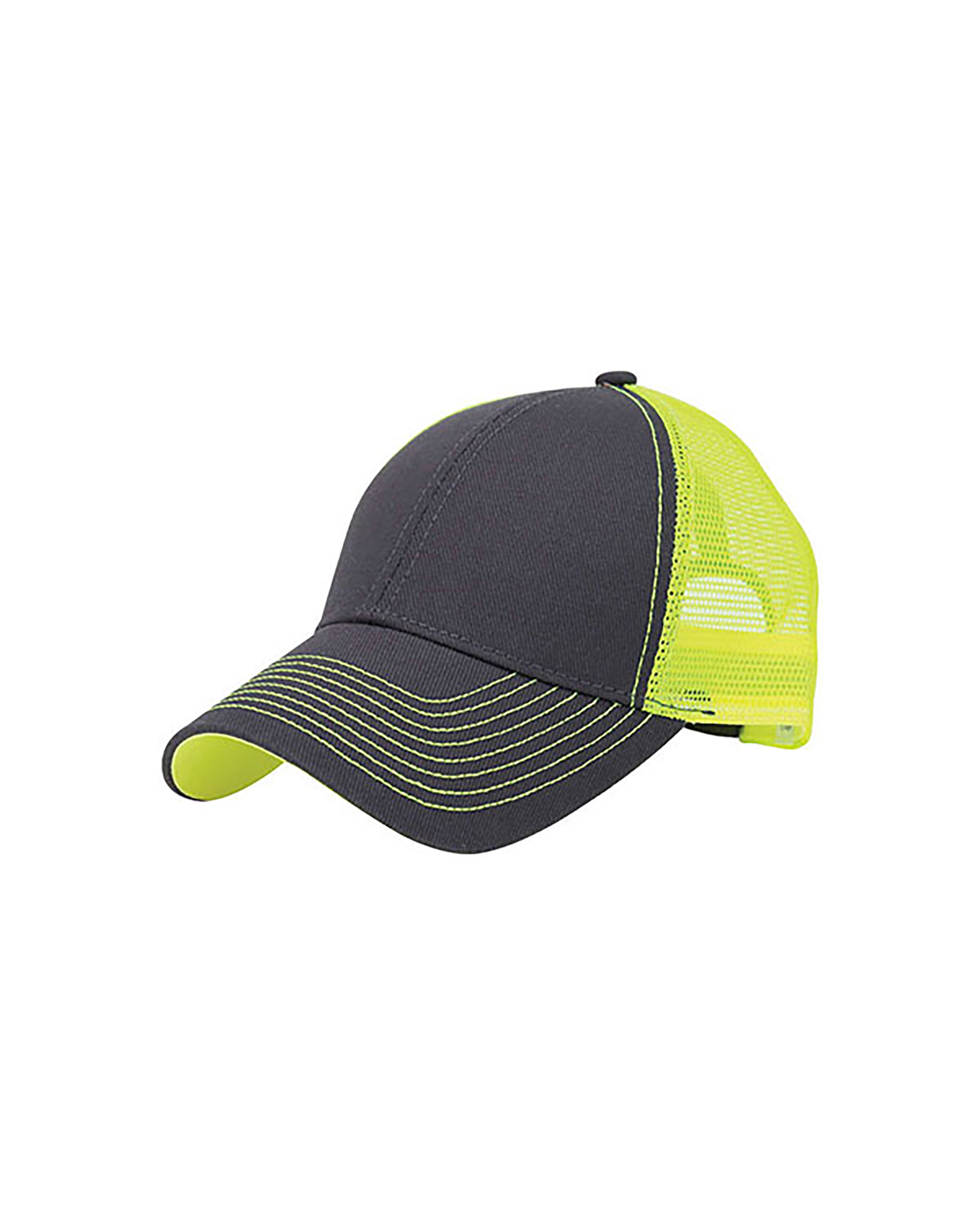 Mega Cap 7641B - Heavy Cotton Twill Trucker Cap w/Neon ...