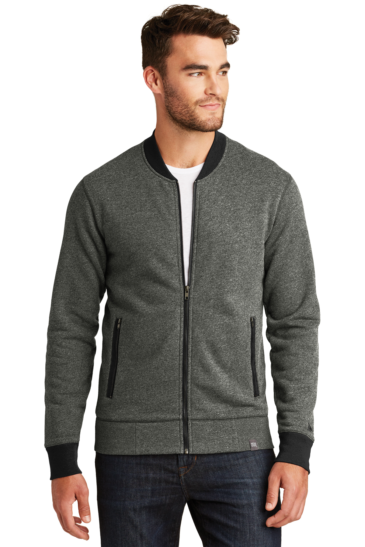 New Era NEA503 - Men's French Terry Baseball Full Zip ...