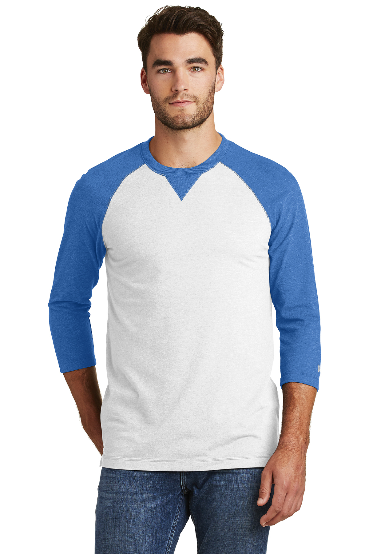 New Era NEA121 - Men's Sueded Cotton 3/4 Sleeve Baseball Raglan Tee