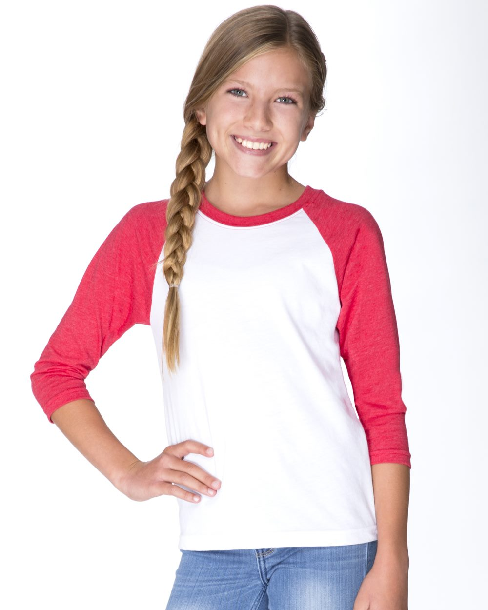 Next Level 3352 - Youth CVC Three-Quarter Sleeve Raglan ...