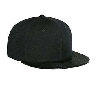 "Ottocap 125-1117 WOOL BLEND TWILL W/ FAUX LEATHER ROUND FLAT VISOR ""OTTO SNAP"" SIX PANEL PRO STYLE SNAPBACK HAT"