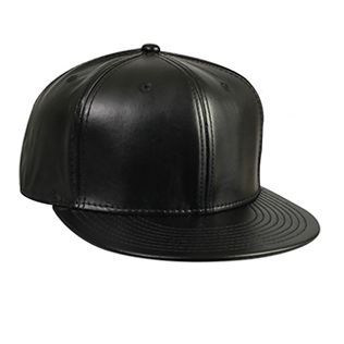 Ottocap 125-1128 FAUX LEATHER ROUND FLAT VISOR SIX PANEL PRO STYLE BASEBALL CAP