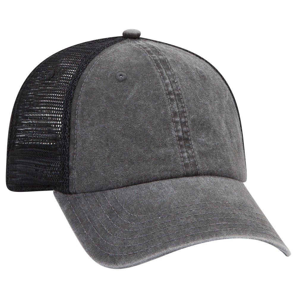 Ottocap 169-1264 - OTTO Flex 6 Panel Garment Washed Pigment Dyed Mesh Back Cap