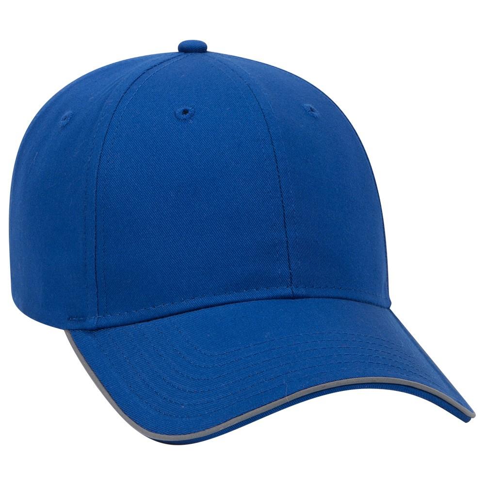Ottocap 19-1261 - 6 Panel Low Profile Reflective Piping Design Cotton Twill Cap