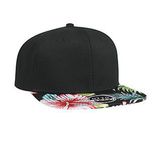 OTTOCAP 125-1148 SUPERIOR COTTON TWILL WITH HAWAIIAN PATTERN SQUARE FLAT VISOR PRO STYLE SNAPBACK CAPS