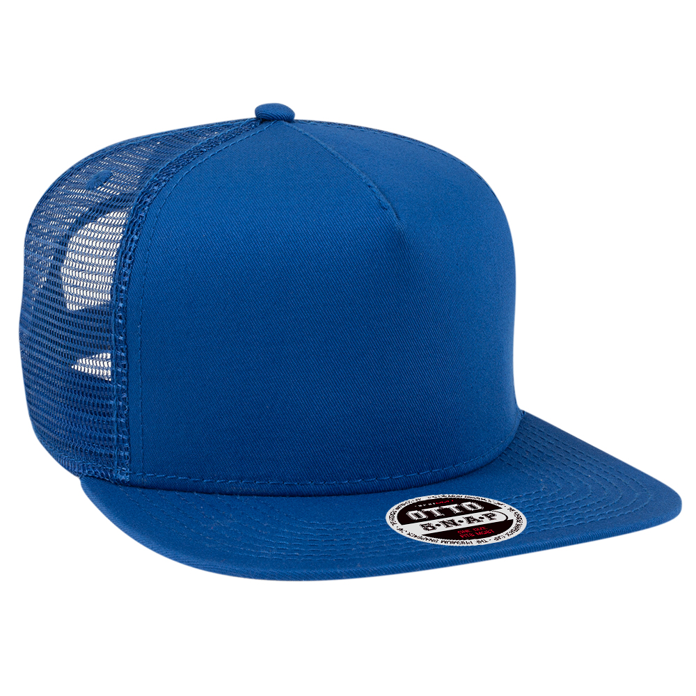 OTTOCAP 164-1217 SUPERIOR COTTON TWILL SQUARE FLAT VISOR 5 PANEL PRO STYLE MESH BACK SNAPBACK