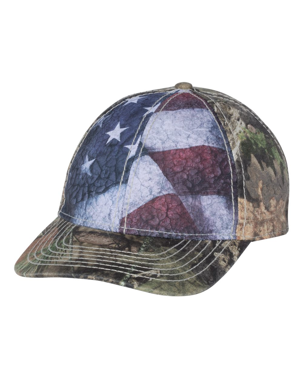 Outdoor Cap SUS100 - Camo Cap with Flag Sublimated Front Panels